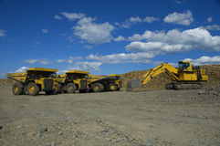Parking Heavy Machinery. In a coal mine open cast Stock Photos