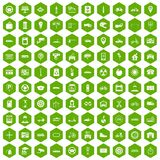 100 parking icons hexagon green. 100 parking icons set in green hexagon isolated vector illustration stock illustration