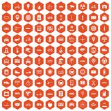 100 parking icons hexagon orange. 100 parking icons set in orange hexagon isolated vector illustration stock illustration