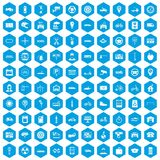 100 parking icons set blue. 100 parking icons set in blue hexagon isolated vector illustration Royalty Free Stock Photo