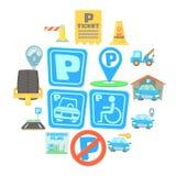 Parking icons set, cartoon style. Parking icons set. Cartoon illustration of 16 parking vector icons for web Royalty Free Stock Photo