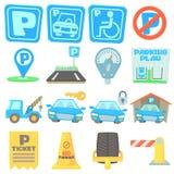 Parking icons set, cartoon style. Parking icons set. Cartoon illustration of 16 parking vector icons for web Stock Photo