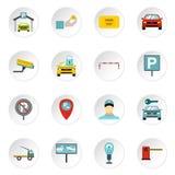 Parking icons set, flat style Stock Image