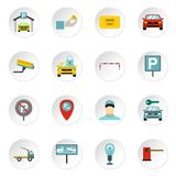 Parking icons set, flat style. Parking icons set. Flat illustration of 16 parking icons for web Royalty Free Illustration
