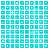 100 parking icons set grunge blue. 100 parking icons set in grunge style blue color isolated on white background vector illustration Royalty Free Stock Photography