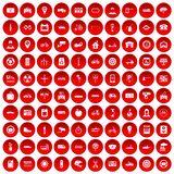 100 parking icons set red. 100 parking icons set in red circle isolated on white vector illustration Royalty Free Stock Photos