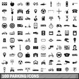 100 parking icons set, simple style. 100 parking icons set in simple style for any design vector illustration Royalty Free Stock Photos