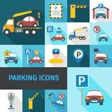 Parking ikony Płaskie ilustracji