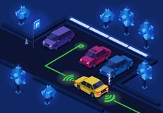 Parking isometric 3D ilustracja dla noc parking iluminaci kierunku ocechowania technologii projekt ilustracji