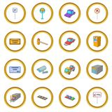 Parking items icons circle. Gold in cartoon style isolate on white background vector illustration Stock Photos
