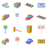 Parking items icons set, cartoon style. Parking items icons set. Cartoon illustration of 16 parking items vector icons for web Royalty Free Stock Image