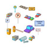 Parking items icons set, cartoon style. Parking items icons set. Cartoon illustration of 16 parking items vector icons for web Royalty Free Stock Images
