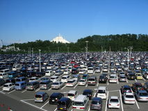 Parking of Japanese cars. Different car in Chiba Tokyo district of Japan near Disneyland and Disney sea Royalty Free Stock Photo