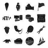 Parking, jedzenie, Anglia, dawność i inna sieci ikona w czerni, projektujemy royalty ilustracja