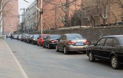 Parking line on the road. In Beijing China, a downstairs family area is an outdoor parking lot, this photo was taken in March 9, 2014 Royalty Free Stock Photos