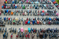 Parking loaded with colorful motorbikes royalty free stock photo