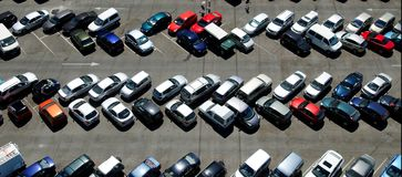 Parking Lot. Full parking lot on sunny day stock photos