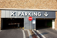 Parking lot. Entrance to the parking lot Stock Photo