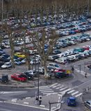 Parking Lot. View from building or rooftop looking down on parking lot filled with vehicles Royalty Free Stock Images