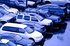 Parking Lot. View of parking lot of cars on a rainy day Royalty Free Stock Photo