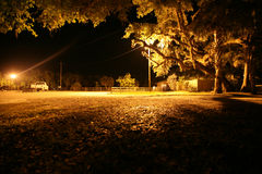 Parking Lot. I photo of a camp ground (park) lit only by two street lights royalty free stock image