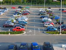 Parking lot. Of a shopping mall at late afternoon. No visible trademark royalty free stock photos
