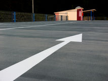 Parking lot. Arrow and entrance of a parking lot royalty free stock photo
