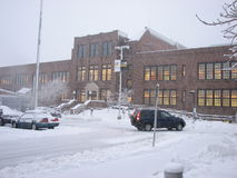 Parking lot and Admin building in heavy Snow Storm Royalty Free Stock Images