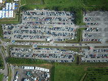 Parking lot aerial view Stock Image