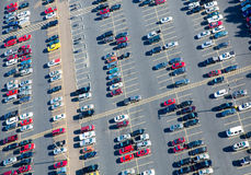 Parking lot aerial view. Lots of cars and parking places in this huge parking lot aerial view Stock Photo