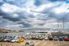 The parking lot area around marina Zeas in Piraeus port. Greece stock photo