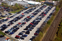 Parking lot. Areal view of a full  public car parking lot Royalty Free Stock Photo