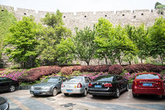 The parking lot below the wall Royalty Free Stock Photos
