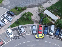 Parking lot. BUCHAREST, ROMANIA, April 25, 2016: Aerial view of the parking spot, in the center of Bucharest Stock Photos