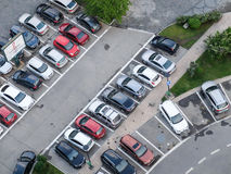 Parking lot. BUCHAREST, ROMANIA, April 25, 2016: Aerial view of the parking spot, in the center of Bucharest Stock Photo