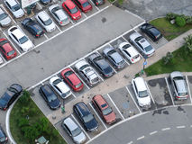 Parking lot. BUCHAREST, ROMANIA, April 25, 2016: Aerial view of the parking spot, in the center of Bucharest Royalty Free Stock Photos
