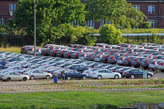 Parking with lot of cars Royalty Free Stock Photos
