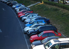 Parking lot cars. Row of cars on parking Royalty Free Stock Photography