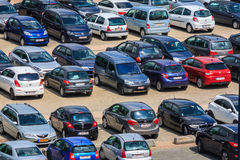 Parking lot. Close shot of parking lot in Belgium with European cars stock images