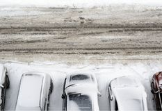 Parking lot covered with snow Stock Photos