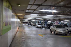 The parking lot of a department store. Parking lot of a convenience store - Bangkok, Thailand Royalty Free Stock Photo