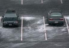 Parking lot with drifts of snow stock image
