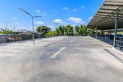 Parking lot. Empty parking lot with the light posts Royalty Free Stock Photography