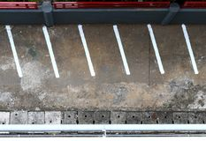 Parking lot empty with white line mark top view from above royalty free stock photography