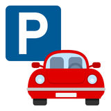 Parking Lot Flat Icon Isolated on White Royalty Free Stock Images
