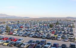 Parking Lot Full of Cars stock photo