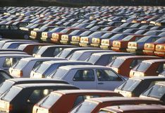 A parking lot of imported cars in Nova Scotia Royalty Free Stock Photos