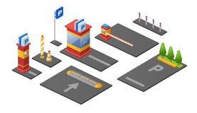 Parking lot isometric 3D vector illustration of checkpoint parkomat barrier and car lots with direction signs. Parking lot isometric 3D vector illustration icons royalty free illustration