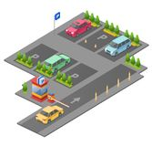 Parking lot isometric 3D vector illustration for construction design of cars, parkomat checkpoint and direction marking. Parking lot isometric 3D vector vector illustration