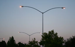 Parking lot lights Royalty Free Stock Images